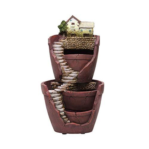VOSAREA Fee Garten Topf Micro Landschaft Blumentopf Harz Pflanzer mit Miniaturhaus für Sukkulenten Micro Landschaft Dekorationen