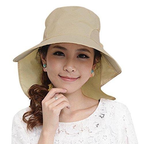 Femmes Chapeau de Soleil Seau Large Bord Casquette Visière Anti-UV Capeline Protection Solaire Ajustable Sun Hat pour Plage Piscine Pêche Camping Randonnée Voyage avec Sangle de Mentonnière