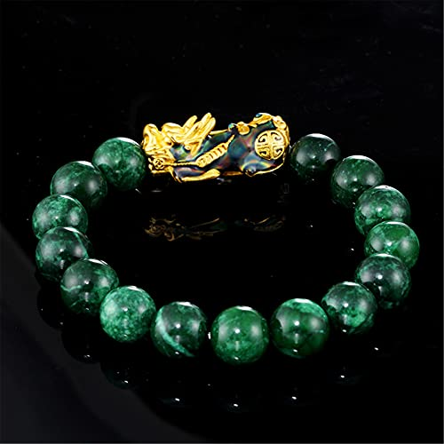 Natural Jade Pulsera Feng Shui Curación Lucky Pixiu Encanto Color Cambio Verde Jade Balance Pulsera Chapado en Oro PIYAO Brazalete Vacaciones Joyería Riqueza Amuleto Atraer Dinero Prosperidad