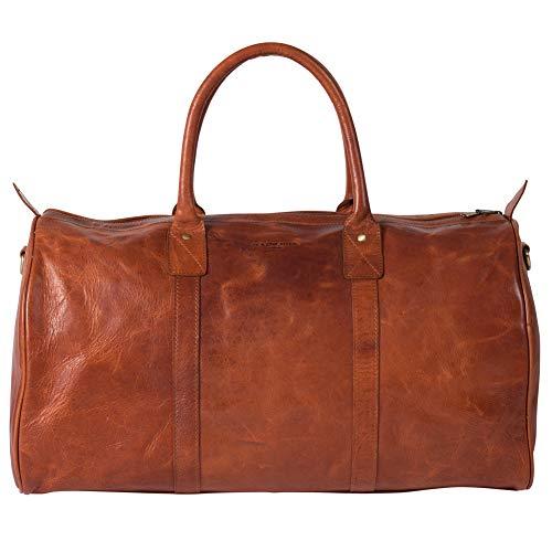 HOLZRICHTER Berlin No 17-2 (S) - Premium Vintage Weekender reistas, sporttas en handbagage van leer - cognac-bruin