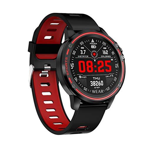 HHJEKLL Intelligentes Armband Smart Watch Herren IP68 wasserdichterModusSmart Watch mit EKG PPG Blutdruck Herzfrequenz Sport Fitness Uhren, rot
