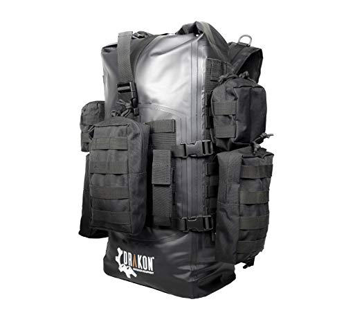 Drakon Outdoors 40L Waterproof Dry Bag Survival Backpack - Roll Top Go-Bag Perfect for Boating, Camping, Hunting, Kayaking - Black Padded Adjustable Straps With MOLLE System