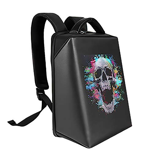 YA&NG LED Display Backpack DIY Graffiti Smart Dynamic Display Shoulder Bag Mens Advertising Screen Laptop Rucksack,for School Work Travel Outdoor Activities
