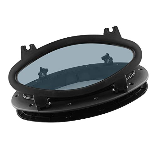 B Baosity Bullauge Oval Fenster aus ABS Kunststoff und Edelstahl mit 4mm Klarem Dickem Gehärtetem Glas, 400 x 200 mm