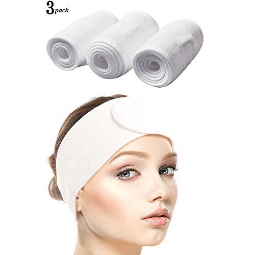 Queta Haarband für Make Up, Kosmetik Stirnband Frottee, verstellbare Haarschutzband mit Klettverschluss 3pcs (Weiß)