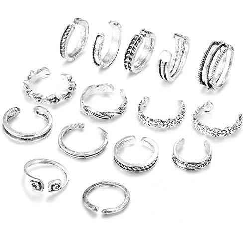 sailimue 15 PCS Zehenringe Ring Set für Damen Vintage Open Ring, Einstellbar