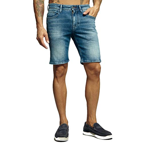 Baci e abbracci Bermuda Pantaloncini Pantaloncino Pantaloni Corti Jeans da Uomo Shorts 50 52 56 48 54 (50 - Denim)