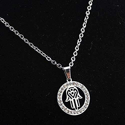FACAIBA Necklace Round Rhinestone Fatima Palm Necklace Pendant Stainless Steel Palm Necklace Necklace Stainless Steel Jewelry Gift
