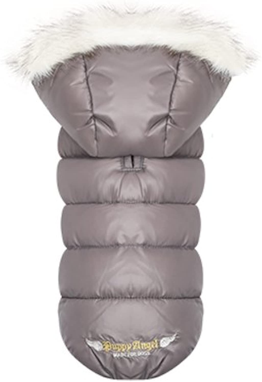 Puppy Angel Trim Hooded Padded Jacket Grey Size M