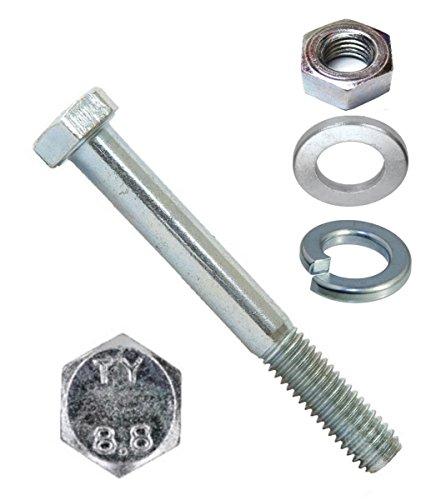 10 Stck Sechskantschrauben M 10 x 140 DIN 931 Kl. 8 verzinkt, mit Mutter, Scheibe und Federring