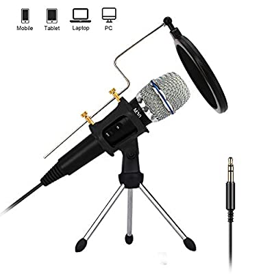 Condenser Microphone, 3.5mm PC/Phone Microphone Handheld Mic with Sound Adapter,Tripod Stand and Pop Filter for Youtube,MSN, Facebook,Skype Online Chatting,Gaming,Recording,Podcasting,Windows/Mac