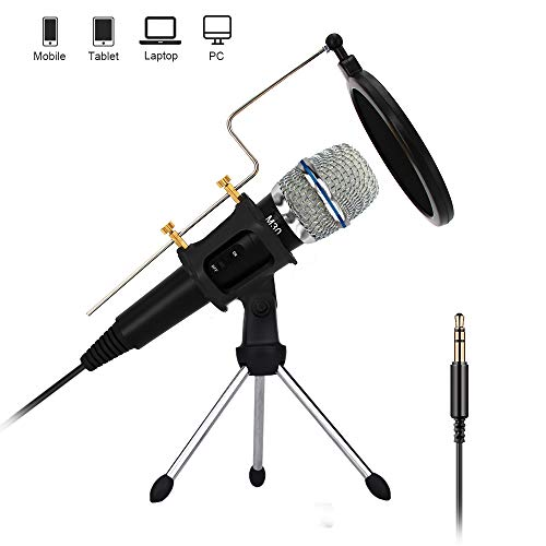 Professional Condenser Microphone Recording with Stand for PC Computer iPhone Phone Android Ipad Podcasting, Online Chatting Mini Microphones by XIAOKOA (M30)