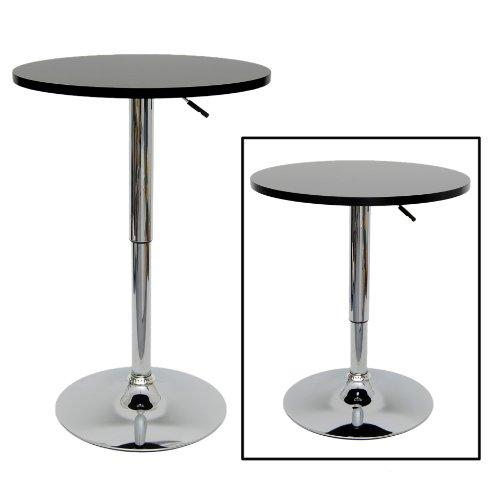 MDF Tavolino nero bistrò bar cromo 60-69 cm nuovo