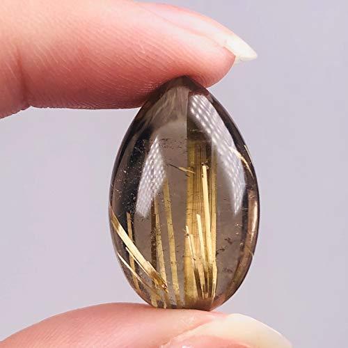 ACEACE Hermoso de Oro Natural Rutilo Cristal de Roca de Piedra Pulida Reiki Colgante de Piedras Preciosas como Regalo Collar
