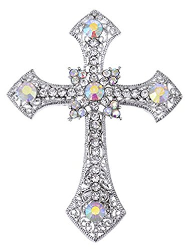 Reizteko Religious Brooch for Women Men Rhinestone Crystal Brooch Pins Silver Plated (Valentines Day Gift) (Cross)