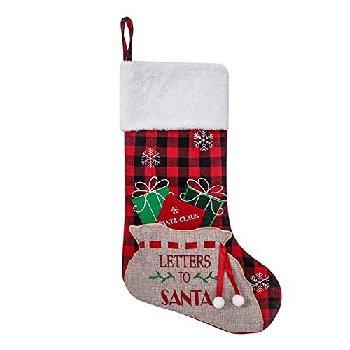 YHNHT 4 medias navideñas, 47,5 cm, color rojo y negro, de búfalo a cuadros navideños, medias colgantes para chimenea, con puño de felpa para decoración clásica de Navidad