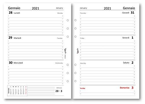Ricambio agenda 2021 settimanale bianco Bi-Lingue (90gr) 15 x 21 ricambio agenda 6 fori organizer