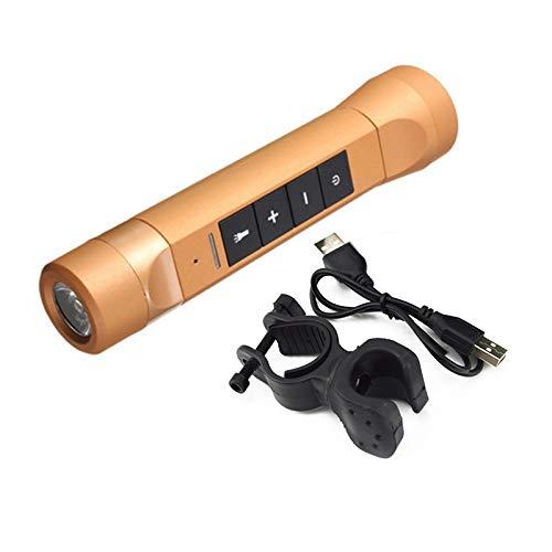 Linterna Bluetooth multifunción, Altavoces de música para Bicicleta 4 en 1, Llamadas Manos Libres, Linterna Recargable portátil con Clip para Bicicleta (Dorado)
