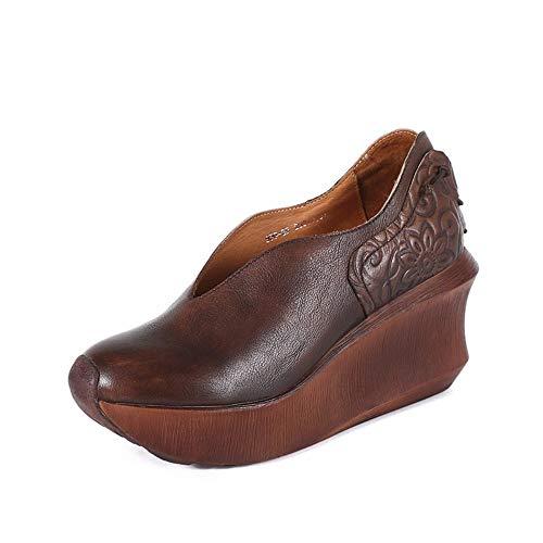 Damenschuhe Echtes Leder Weich Keil Sohle Relief Sandalen Rücken Schnürschuhe Braun Runde Spitze High Heel Retro Vintage Originelles Design Handgefertigt Lässig Atmungsaktiv Bequeme Damenschuhe ,