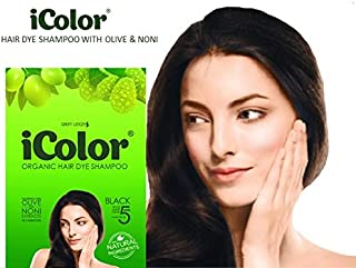 iColor Organic Hair Dye Shampoo Black 25ml (0.85 ounces) x 10 sachets in a box, shampoo-in permanent hair color, dye, black hair in 5 minutes, DIY, convenient, easy to use blackening shampoo