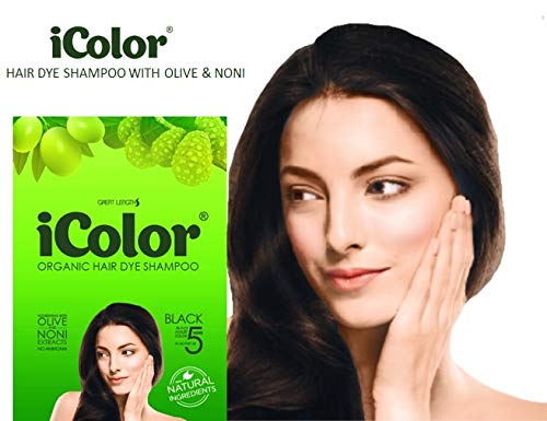 iColor Organic Hair Dye Shampoo Black 25ml (0.85 ounces) x 10 sachets in a box, shampoo-in permanent hair color, dye, black hair in 5-15 minutes, DIY, convenient, easy to use blackening shampoo