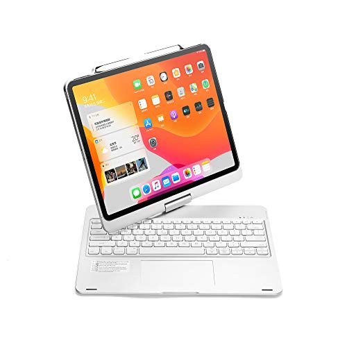 iPad Pro 12.9 Case 2020 with Keyboard, TechCode 360 Degree Rotate Wireless Bluetooth Keyboard Case with Touchpad/Pen Holder Auto Sleep Wake Smart Keyboard for 12.9'' iPad Pro 3rd/ 4th Gen (Silver)