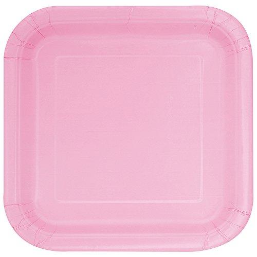 Unique Party - Platos Cuadrados de Papel - 23 cm - Rosa Claro - Paquete de 14 (30881)