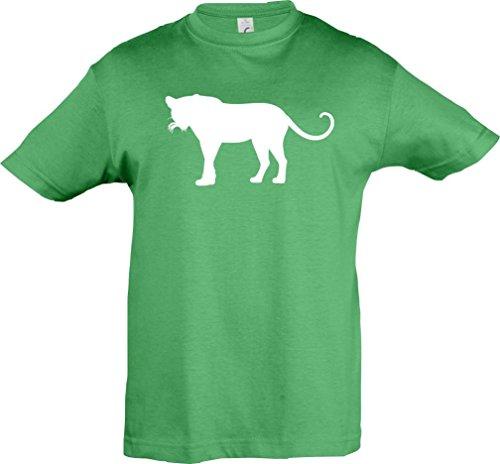 Kinder-Shirt; Tiermotiv Raubkatze, Puma, Leopard,Tiger, Jaguar, Panther, Löwe; Farbe Kelly, Größe 140