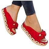 Aniywn Sandals for Women Flat,Women's Bow Tie Sandals Comfy Platform Sandal Shoes Summer Lip On Beach Travel Flip Flops Red