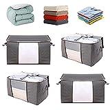 aomiao 4 pezzi organizzatore pieghevole traspirante, scatole per armadio grigio, scatole per vestiti porta abiti grande traspirante, per indumenti cuscini vestiti trapunta