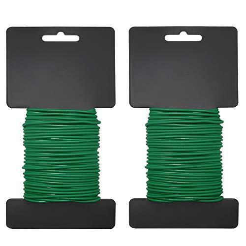 Shintop 2PCS Reusable Garden Plant Twist Tie, Heavy Duty Soft Wire Tie for Gardening, Home, Office (Green, 52.5 feet)