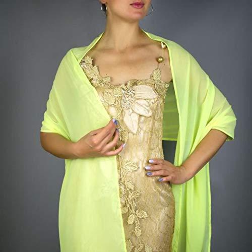 Chal chiffon color verde neon amarilla novia boda novia para vestido de...