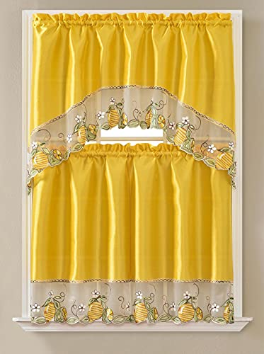 """Gentle Home 3pc Kitchen Curtain and Valance Set/1 Swag Valance and 2 Tiers,2 Tiers Width 30""""x 36"""" Each and The Valance Length 60""""x36"""" (Yellow Lemon)"""