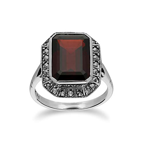 Ivy Gems Sterling Silver Marcasite Ring with Large Octagon Garnet Statement Ring Size 5, 5.5, 6, 6.5, 7, 7.5, 8 and 8.5 Vintage Design January Birthstone red