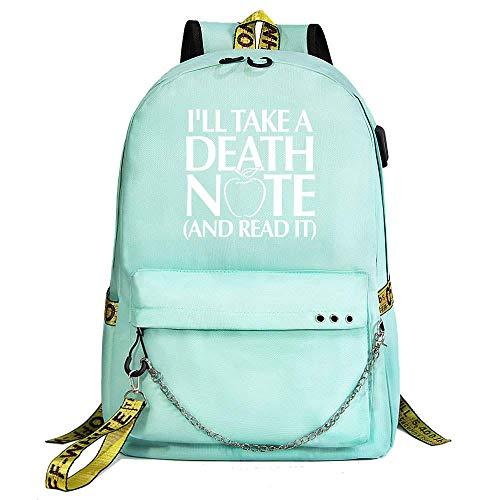 Mylxdn Death Note Anime Bolsa De Estudiante Hombres Y Mujeres Mochila Casual De Correasportátil Diseño De Anime Portátil Unisex Ligera Versátil para