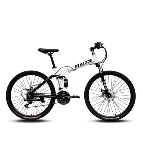 Bicicleta De Montaña De 26 Pulgadas, Bicicleta De Fondo, Rueda De Lapos De Bicicleta Plegable Adecuada para Bicicletas De Color Masculino Y Femenino,Blanco