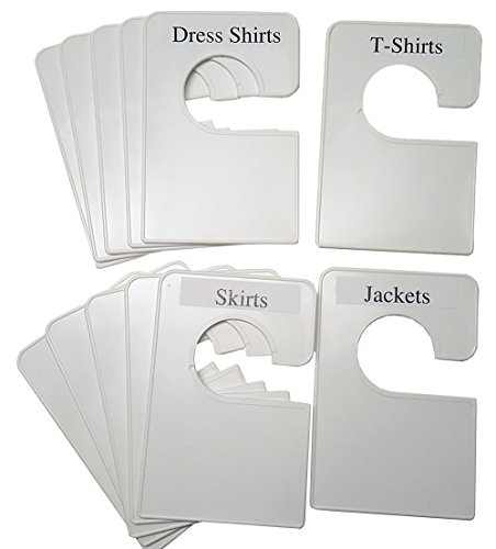 12 Blank White Clothing Size Dividers Adults or Baby Nursery Large 5.25x3.5 Inches (Regular)