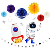 9Pcs Outer Space Decorations Solar System Hanging Supplies Galaxy Planets Honeycomb Space Birthday Party Decor Ceiling Ornaments