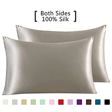 YANIBEST 19 Mome 2 Pack 100% Mulberry Silk Pillow Cases for Hair and Skin (Queen, Apricot)