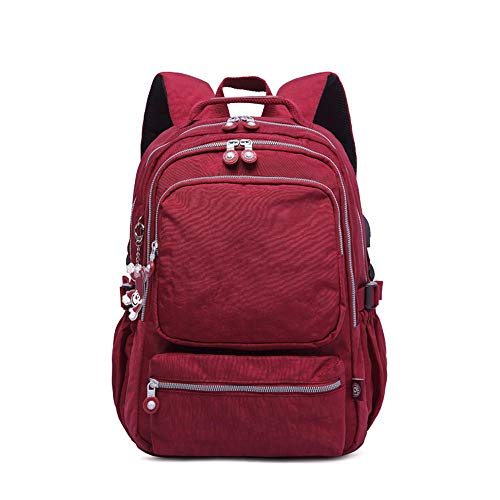 cndwx Outdoor-Reise-Laptop-Rucksack-Tasche mit USB-Ladeanschluss langlebiger wasserdichter Computer-Rucksack@Jujube rot