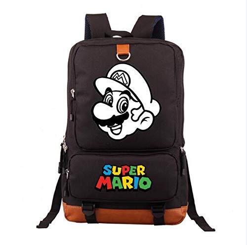YUNDING Mochila Mario Japón Super Mario Bros Mochila Bolsa de Juego Estudiantes Libro portátil Hombro Bolsa de Viaje Dibujos Animados Cosplay