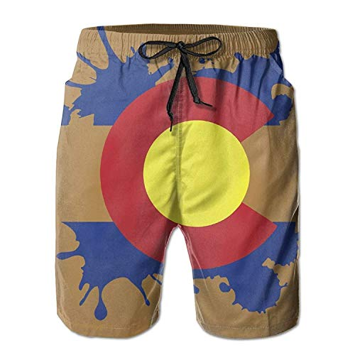 Jiger Colorado Flag Splatter Design Mens Swim Trunks Quick Dry Summer Surf Beach Board Shorts PantsM