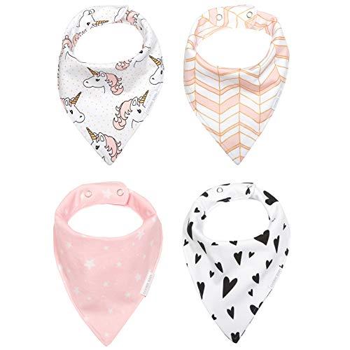 Reversible & Waterproof Cotton Baby Bandana Drool Bibs for Girls with...