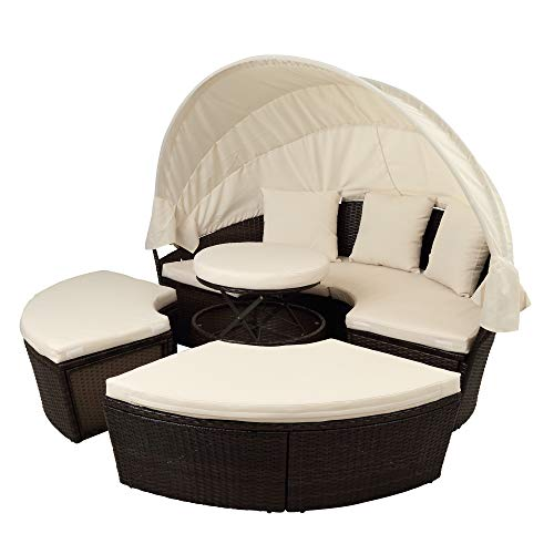 Tidyard Patio Furniture Outdoor Daybed Patio Furniture Round Outdoor Sectional Sofa Set Rattan Sunbed with Retractable Canopy Height Adjustable Table Footrest Separate Seating Removable Cushion Beige