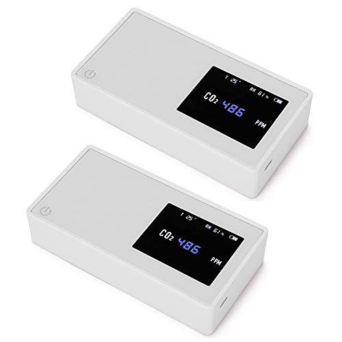 YANXS CO2-Messgerät, Kohlendioxid-Detektor, Messbereich 400-5000 ppm, intelligenter Lufttester mit Anzeige der Temperaturfeuchtigkeit, Inhalt der Gaskonzentration,Weiß,2PCS