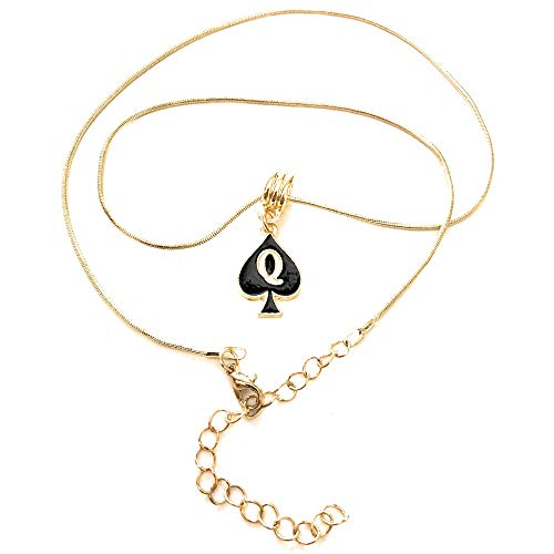 Alternative Intentions Q Spade (Queen of Spades) Charm Necklace in Black Silver and Gold - Hotwife - Cuckoldress (Gold)