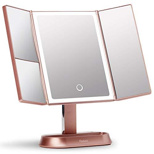 Fancii Espejo Maquillaje con Luz y Aumento 5X y 7X, Espejo de Mesa Cosmético con 40 Luces LED Naturales Regulables, Pantalla Táctil, USB o Batería y Soporte Ajustable - Sora