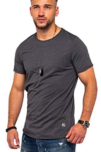 JACK & JONES Herren O-Neck T-Shirt Infinity Oversize Longshirt Casual Top (L, Dark Grey Melange)