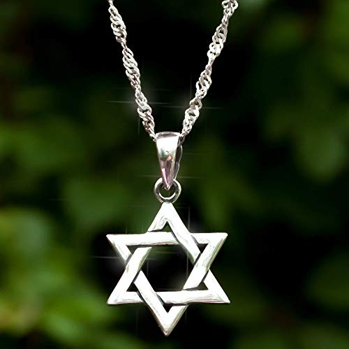 925 Sterling Silver Jewish Star of David Necklace with Rope Chain 18