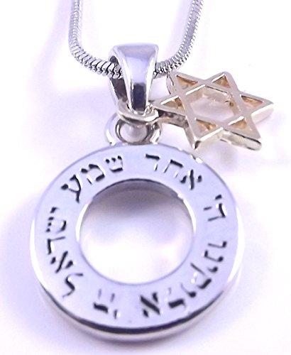 Davidstern Shema Israel Halskette und Anhänger 19-Zoll-Kette